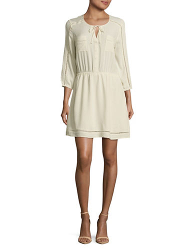 Jack By Bb Dakota Textured Dress with Ladderwork-IVORY-Small