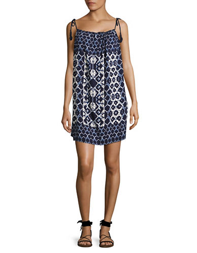 Bb Dakota Printed Trapeze Dress with Tassels-NAVY-X-Small