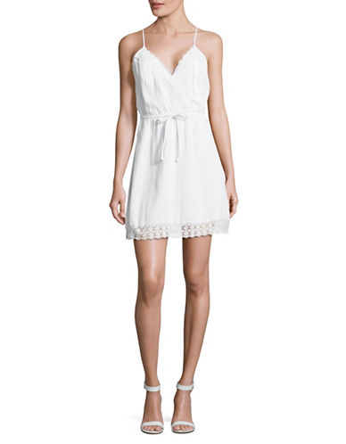 Jack By Bb Dakota Lace Trim Slip Dress-WHITE-Medium