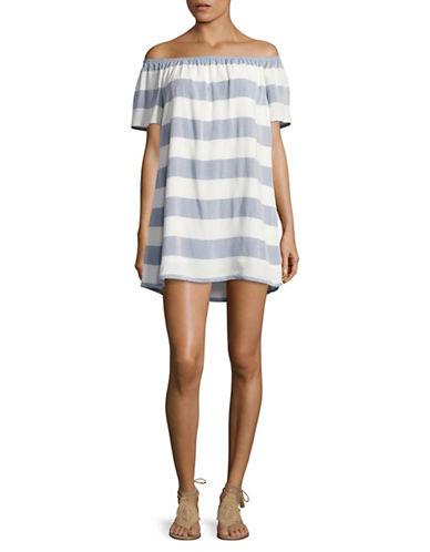 Bb Dakota Striped Off-Shoulder Dress-IVORY-Medium
