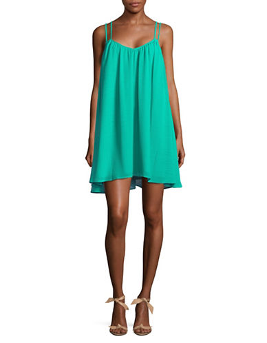 Jack By Bb Dakota Crinkle Trapeze Dress-TEAL GREEN-Medium