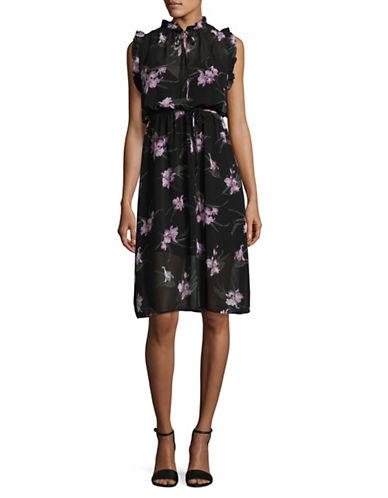 Bb Dakota Printed Chiffon Dress-BLACK MULTI-Medium