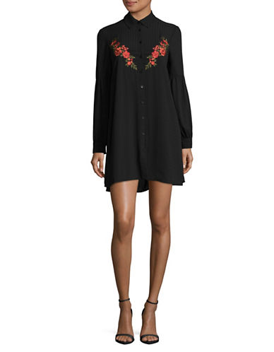 Jack By Bb Dakota Embroidered Shirtdress-BLACK-X-Small