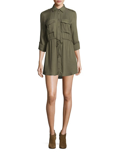 Jack By Bb Dakota Drawstring Shirt Dress-OLIVE-X-Small