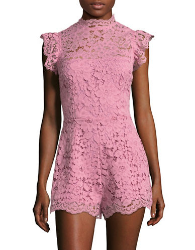 Bb Dakota Floral Lace Romper-DUSTY ROSE-0