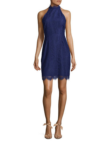 Bb Dakota High Neck Lace Dress-BLUE-6