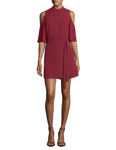 Jack By Bb Dakota Cold-Shoulder Dress with Sash-MAROON-Medium
