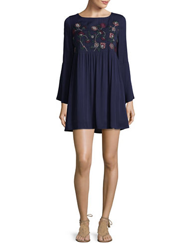 Bb Dakota Embroidered Floral Babydoll Dress-BLUE-Small