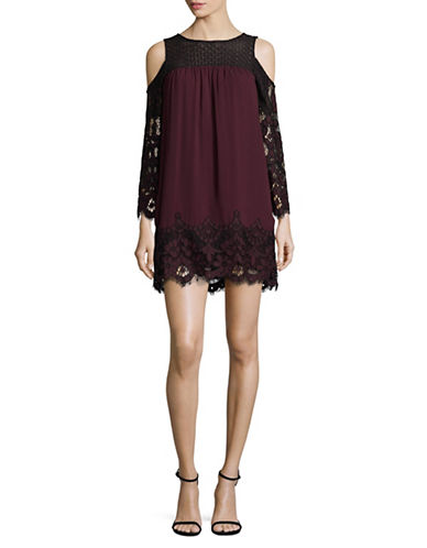 Bb Dakota Cold-Shoulder Two-Tone Lace Dress-RED-Small