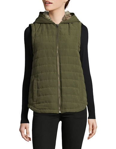 Design Lab Lord & Taylor Meiker Quilted Vest-DEEP OLIVE-X-Small