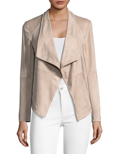 Design Lab Lord & Taylor Draped Faux Suede Moto Jacket-PARCHMENT-Large
