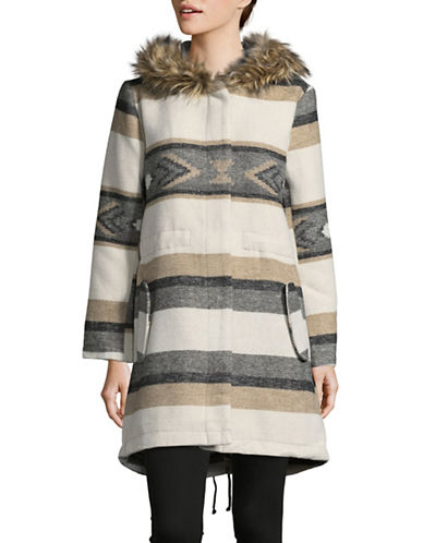 Design Lab Lord & Taylor Ryker Faux Fur Hooded Coat-BEIGE-Large