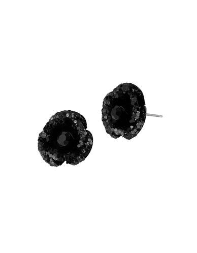 Betsey Johnson Glitter Flower Stud Earring-BLACK-One Size