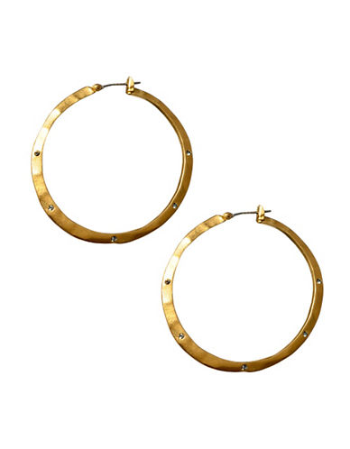 Kenneth Cole New York Gold Pave Hoop Earring-GOLD-One Size