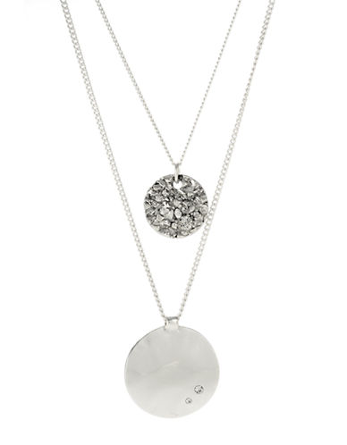 Kenneth Cole New York Textured Circle And Round Disc Duo Pendant Necklace-SILVER-One Size