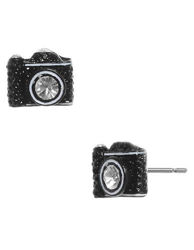 Betsey Johnson Camera Stud Earring-BLACK-One Size