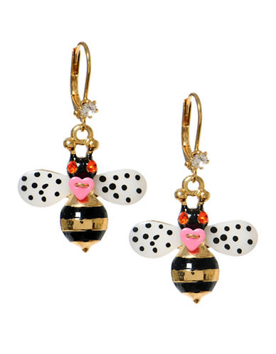 Betsey Johnson Bumble Bee Drop Earring-GOLD MULTI-One Size