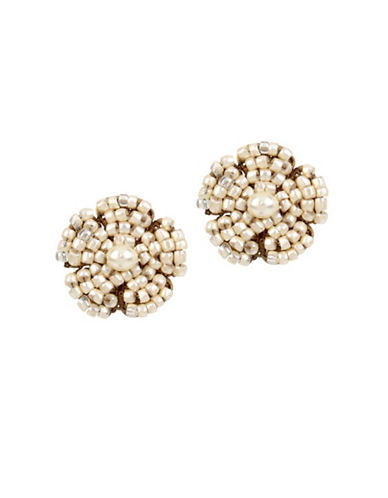 Miriam Haskell 2-4mm Pearl Flower Button Stud Earrings-WHITE-One Size