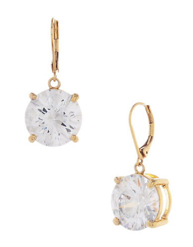 Betsey Johnson Large Crystal Drop Earring-GOLD-One Size