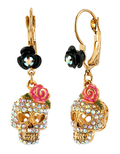 Betsey Johnson Skull Drop Earring-GOLD-One Size