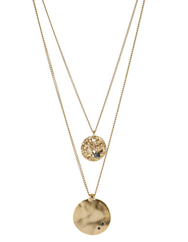 Kenneth Cole New York Gold Disc 2 Row Necklace-GOLD-One Size