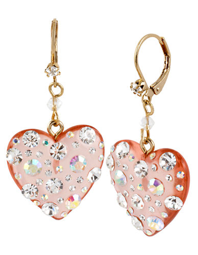 Betsey Johnson Lucite Heart Drop Earring-PINK-One Size