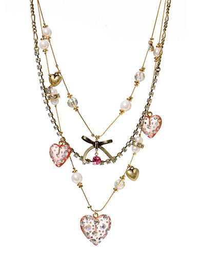 Betsey Johnson Lucite Heart Illusion Necklace-MULTI COLOURED-One Size