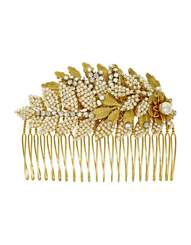 Miriam Haskell 6MM Cream Round Pearl Crystal Stone and Pearl Leaf Hair Comb-WHITE-One Size