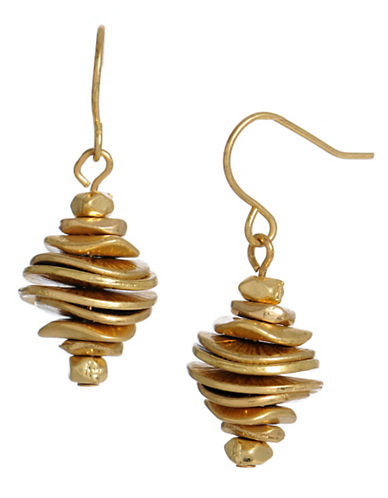 Kenneth Cole New York Stacked Disc Drop Earring-GOLD-One Size