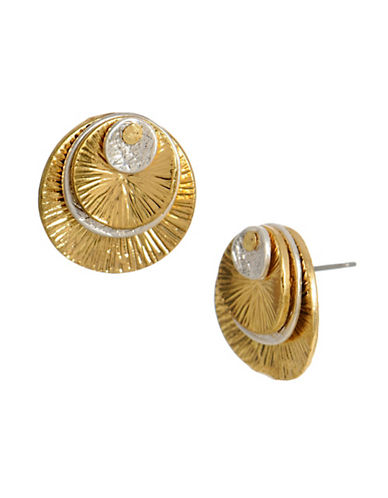 Kenneth Cole New York Twotone Multi Disc Stud Earring-GOLD-One Size