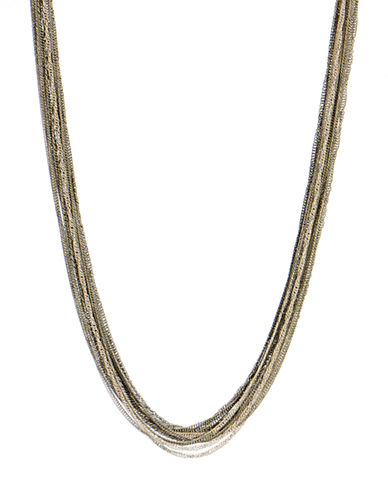 Kenneth Cole New York Multi Chain Long Necklace-TRI COLOUR-One Size