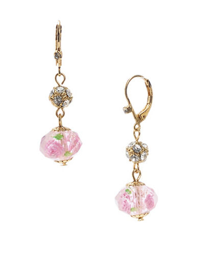 Betsey Johnson Flower Bead Drop Earring-PINK-One Size