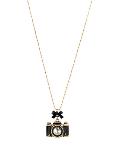 Betsey Johnson Camera Pendant Long Necklace-BLACK-One Size