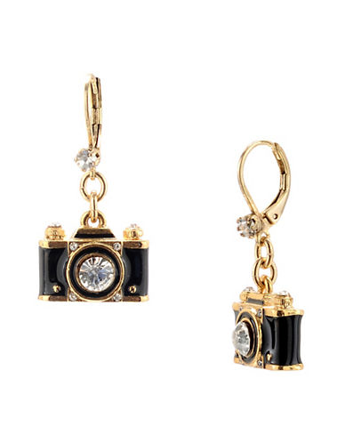 Betsey Johnson Camera Drop Earring-BLACK-One Size
