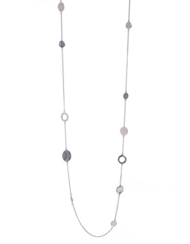 Kenneth Cole New York Silver Circle Long Illusion Necklace-SILVER-One Size