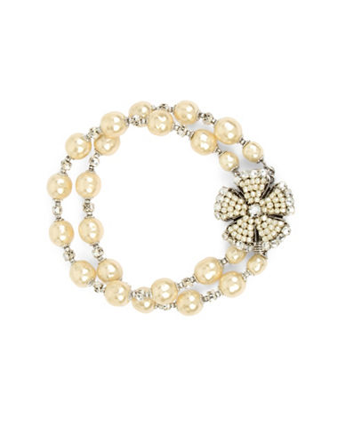 Miriam Haskell 2-8mm Pearl Double Flower and Crystal Stone Strand Bracelet-WHITE-One Size