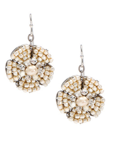 Miriam Haskell 2-6mm Crystal Stone Pearl Flower Drop Earrings-WHITE-One Size