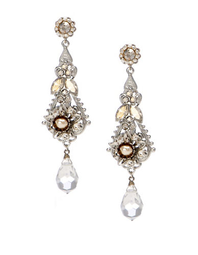 Miriam Haskell 2-3mm Pearl Crystal Stone Flower Chandelier Earring-WHITE-One Size