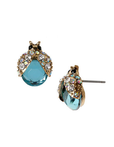 Betsey Johnson Crystal Bug Stud Earring-BLUE-One Size