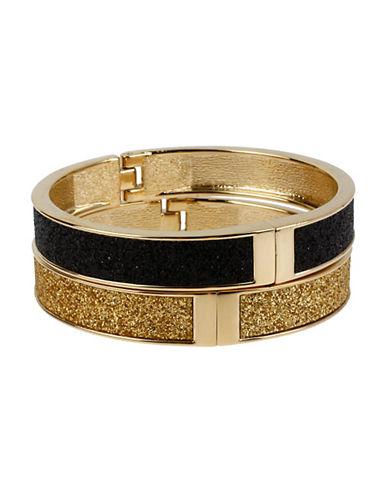 Betsey Johnson Black and Gold Glitter Hinged Bangle Bracelet Set-BLACK/GOLD-One Size