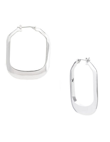 Kenneth Cole New York Large Silver Rectangle Hoop Earring-SILVER-One Size