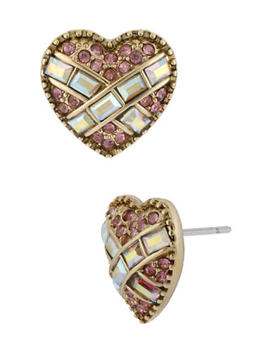 Betsey Johnson Crystal Heart Stud Earring-PINK-One Size
