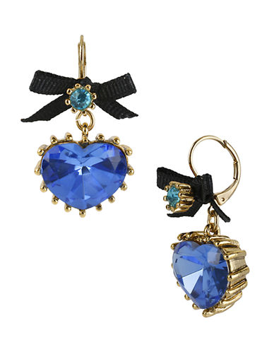 Betsey Johnson Crystal Heart Drop Earring-BLUE-One Size