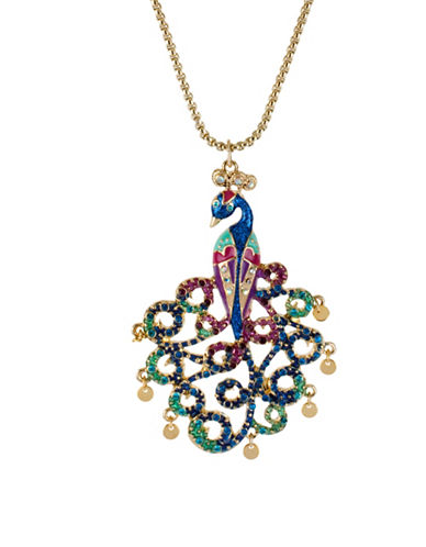 Betsey Johnson Peacock Pendant Necklace-MULTI-One Size