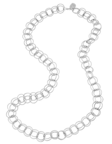 Betsey Johnson Circle Link Long Necklace-SILVER-One Size