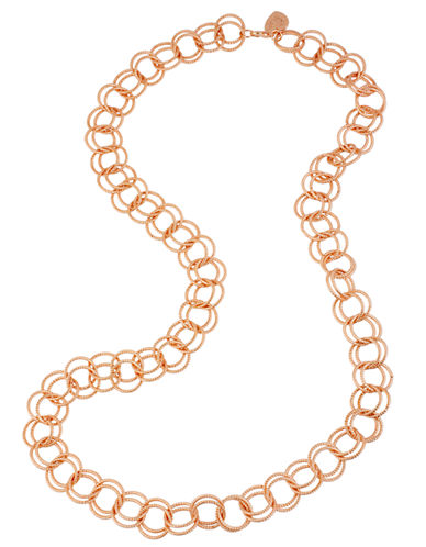 Betsey Johnson Circle Link Long Necklace-ROSE GOLD-One Size