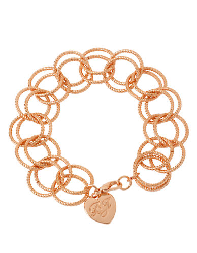 Betsey Johnson Circle Link Bracelet-ROSE GOLD-One Size
