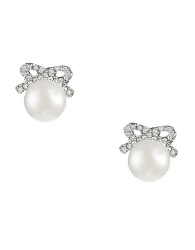 Betsey Johnson Crystal Bow Pearl Stud Earring-CRYSTAL-One Size