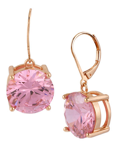 Betsey Johnson Crystal Drop Earring-PINK-One Size