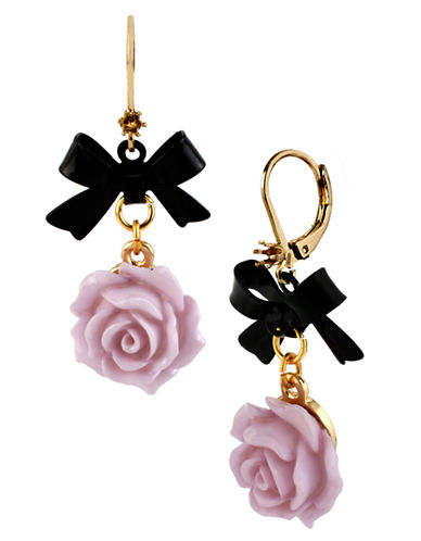 Betsey Johnson Flower and Bow Drop Earring-PURPLE-One Size